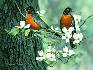 Michigan artist Russell Cobane's Springtime Robins
