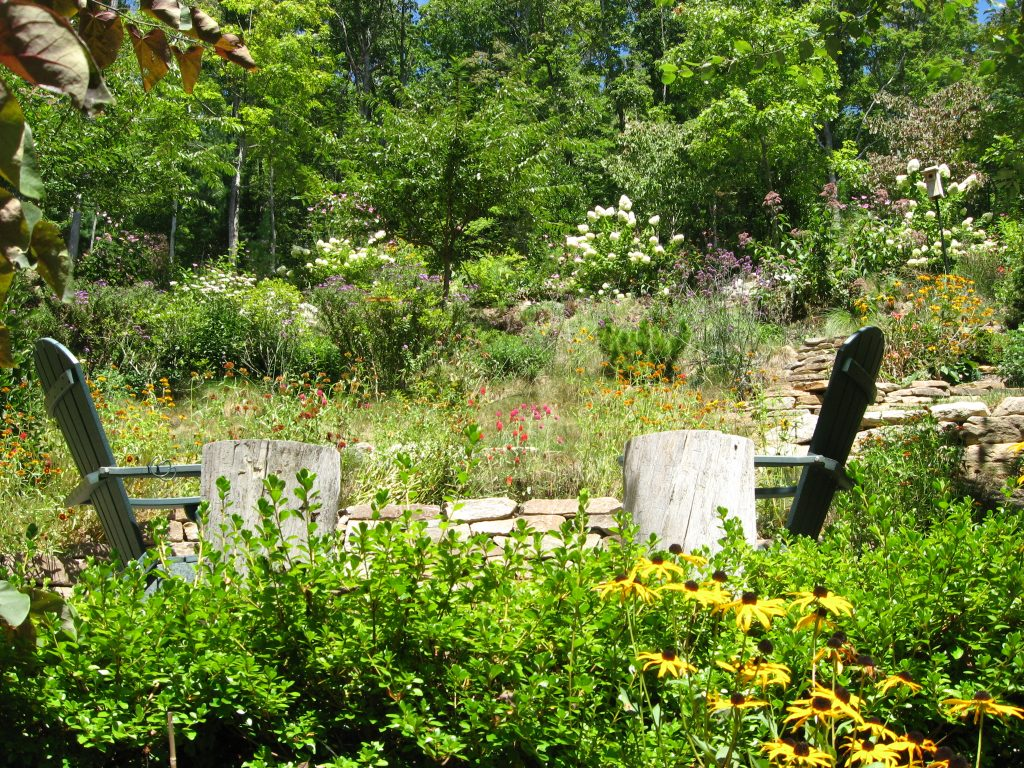 Steep slope garden uses diverse plantings for visual interest, privacy, and erosion control.