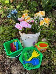 Child's sand bucket garden