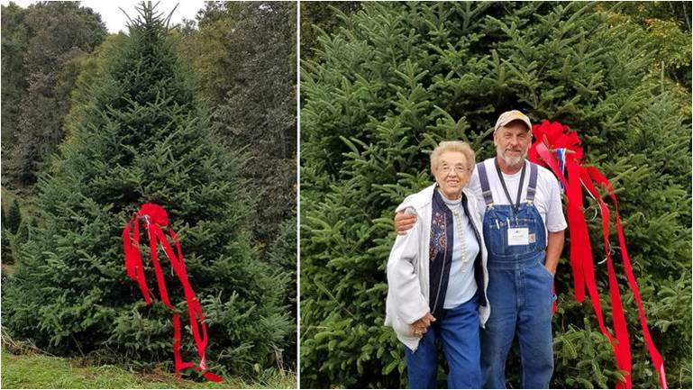 19.5-foot White House Christmas tree from Mountain Top Fraser Fir Farm, Newland, NC, 2018. Owner Larry Smith with his mother, Leona Smith. Photo courtesy of Larry Smith.